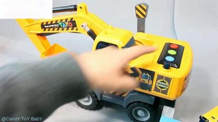 挖掘机小客车汽车英语学习数字颜色玩具惊喜学习