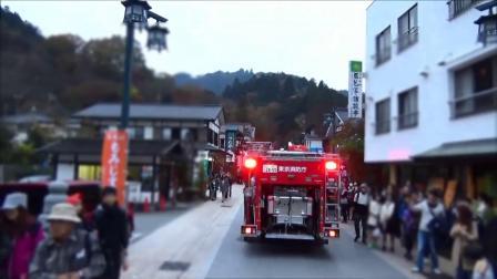 東京消防庁高尾山に山岳救助隊!登山者をかき分けながら緊急走行で入山する消防車とパトカー