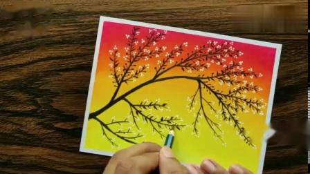 教你用油画棒画出漂亮的风景画,画的很美!