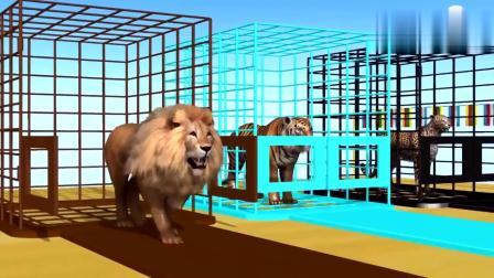 狗熊大猩猩狮子老虎吃彩色冰淇淋吃完身体就变颜色动画片