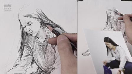 「国君美术」人物速写 女青年坐姿速写技巧速写教程
