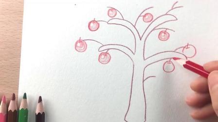 朵拉简笔画:小朋友会画苹果树吗?今天教你们画一个挂满苹果的树