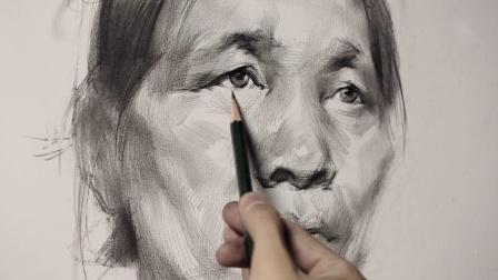 「国君美术」素描头像画照片素描联考高分卷是这样的