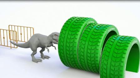 恐龙轮胎变身游戏 认识颜色  婴幼儿早教益智动画英语启蒙