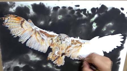 上海八哥美术《胡说胡画》彩铅画作品--猫头鹰