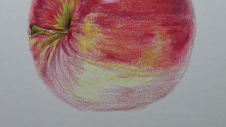 上海八哥美术《胡说胡画》彩铅画作品--红苹果
