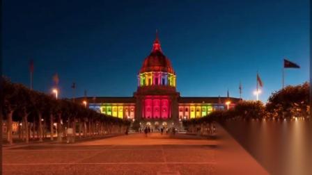 旧金山市政厅x24小时,彩虹灯亮起,以纪念同性婚姻