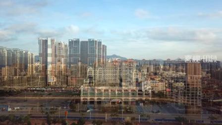 航拍广东汕尾海景城市