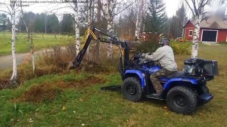 牛人自制挖掘机,小工程用起来那是得心应手!