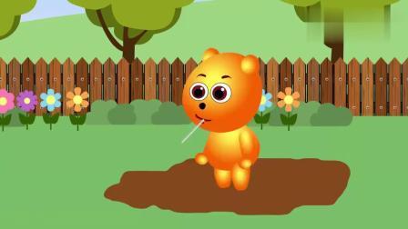 儿童卡通片:小熊突发奇想制作出了脚印棒棒糖