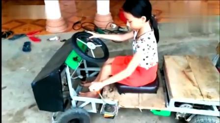 国外牛人给女儿制作的小汽车,看看这车能上路