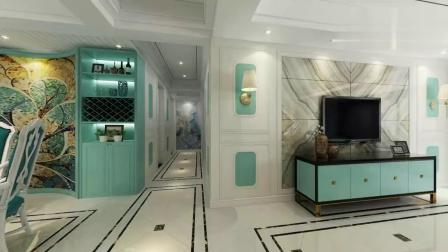 160㎡大三房,抹茶绿充盈着整个空间浪漫温馨,餐厅酒柜造型亮了