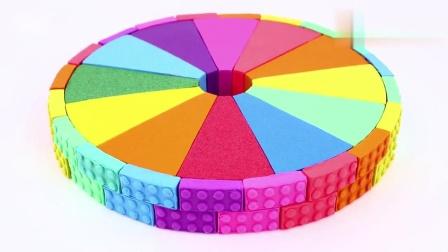 儿童手工创意无限乐高积木太空沙给小黄人制作彩虹蛋糕!