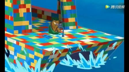 动画搞笑-鬣狗使积木造船来抓小鱼,鲨鱼哥一个