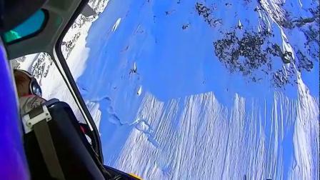 牛人高山垂直悬崖俯冲而下玩极限滑雪