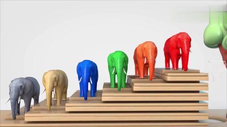 曲奇蛋拿彩色皮球砸到大象身上大象变颜色学习颜色和英语