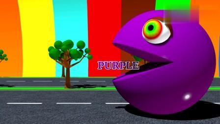 宝宝动画:吃豆人吃水果礼盒吃完身体变色学颜色1