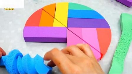 农民在戴尔学习颜色与动态沙彩虹蛋糕巴士玩具童谣为孩子们