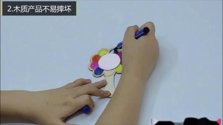 百飞木制镜子 儿童diy手绘镜子 雪花泥珍珠泥粘土美术涂色手工镜子