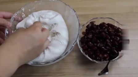 一碗糯米粉,一碗蜜豆,油炸糕最简单的做法
