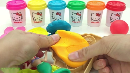 Learn Colors Hello Kitty Dough with Ocean Tools and Cookie Molds