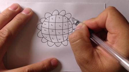 金龙手绘-简笔画植物.向日葵的画法7