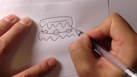 金龙手绘-简笔画.蛋糕的画法3