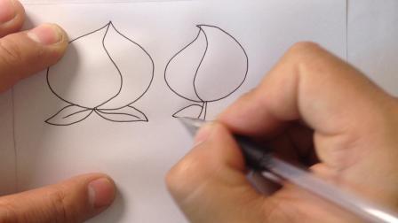 金龙手绘-简笔画水果.桃子的画法1