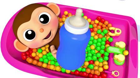 宝宝学颜色,猴宝宝玩滑梯,掉进好多的彩色球堆里