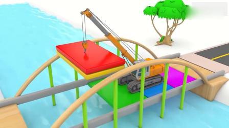 亲子早教动画 3D工程车起重机搅拌机压路机分工合作修大桥