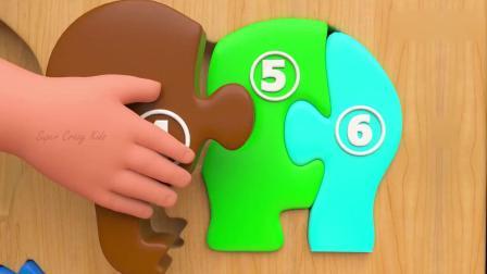 亲子早教动画 3D婴儿乐园木制彩色大象拼图玩具趣味学习