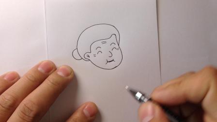 金龙手绘.重阳节简笔画老人11