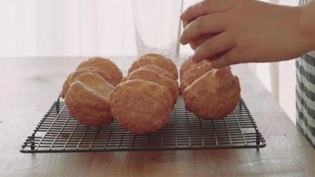 甜品教程 超大奶油泡芙制作教程 浓香酥脆的完美结合