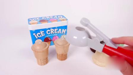 亲子早教动画 七彩冰淇淋球和木质儿童玩具车 学习颜色