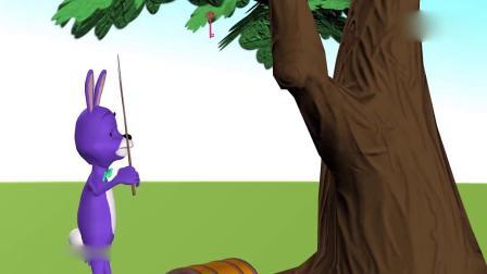 亲子早教动画 小兔子在树下找到宝箱找朋友帮忙打开拿棒棒糖