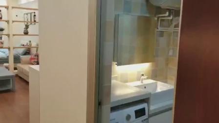 40㎡单身公寓样板房,客厅和卧室的隔断真不错,落地窗也很赞