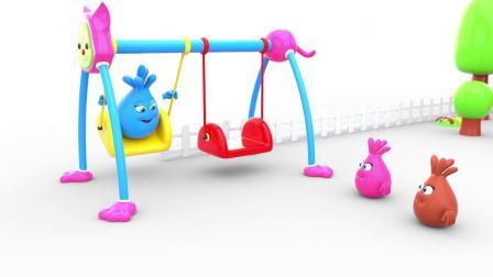 亲子早教,宝宝玩荡秋千、蹦蹦床和投篮趣味游戏