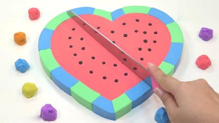 亲子早教动画 DIY太空沙心形西瓜蛋糕模型趣味学习颜色