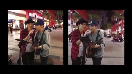 他们在街头唱歌突然碰到原唱,运气好到让人嫉