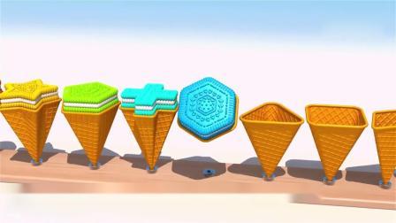 亲子早教动画 儿童3D冰淇淋饼干趣味学习形状颜色