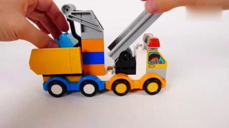 亲子早教动画 儿童乐高积木组装卡通多功能工程车玩具