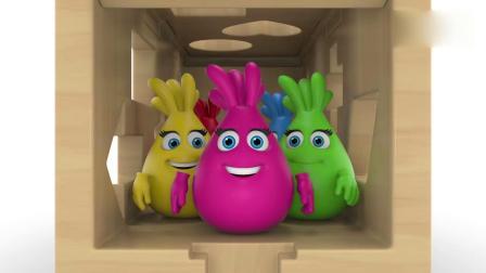 亲子早教动画 儿童木质玩具车填充彩色形状趣味学习颜色