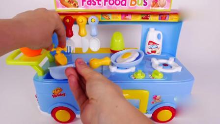 亲子早教动画 儿童食品卡车烹饪玩具趣味培养孩子认知能力