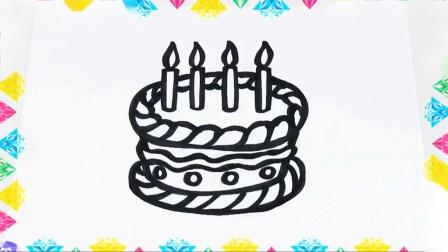如何为孩子画生日蛋糕用生日蛋糕为孩子们学习颜色书