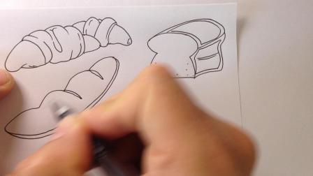 金龙手绘简笔画.面包的画法1