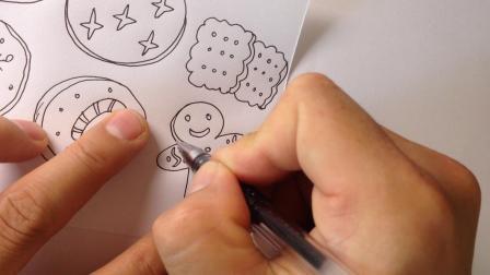 金龙手绘简笔画.饼干的画法1