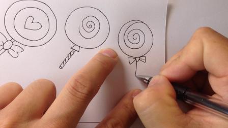 金龙手绘简笔画.棒棒糖的画法2