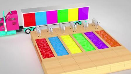 亲子早教动画 3D牛彩色水道里游泳变换色彩趣味学习颜色