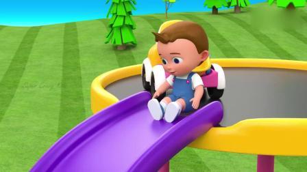 亲子早教动画 3D幼稚园里小宝宝玩彩球滑梯趣味学习颜色