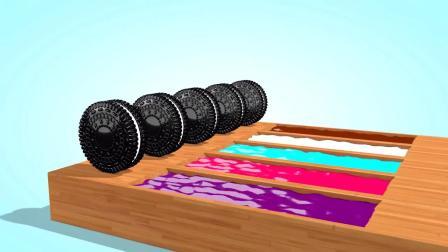 亲子早教动画 大货车拉来了好多奥利奥饼干,饼干滚入水箱,染成了彩色饼干!